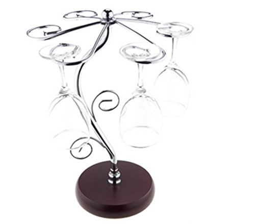 LFHT Artistic Elegant 6 Hook Silver Chrome Tone Metal Wine Glass Holder Stand Stemware Rack Air Drying System Tree Display by LFHT