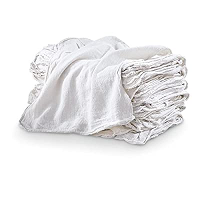 "Auto Shop & Wash Towels - Pack of 50-100% PURE WHITE COTTON - LARGE 14"" x 14"" Commercial Grade - Can be Used for Drying, Cleaning, Washing, and More! Highly Absorbent"