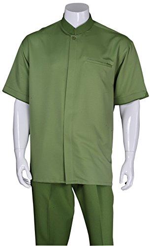 Fortino Landi Banded Collar Walking Suits 2959-Green-X-Large-38