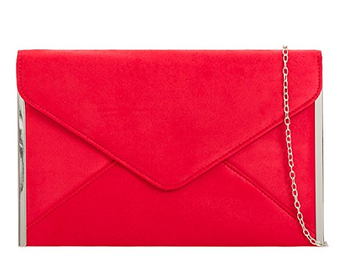 K50292 Red Suede Party Bag Women's Handbag Evening Envelope Purse Clutch Ladies Uwqxzvw