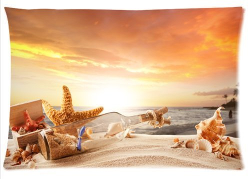 Fabulous Store Cutsom Rectangle Hawaii Summer Beach with Seashells Pillow Cases Covers Standard Size 20x30(one side) by Pillow Case 20x30(one side)