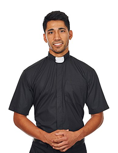 Mens-Short-Sleeves-Tab-Collar-Clergy-Shirt-Black