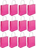 12 x Hot Neon Pink Bags With Handles Empty Wedding Hen Party Girls Gifts