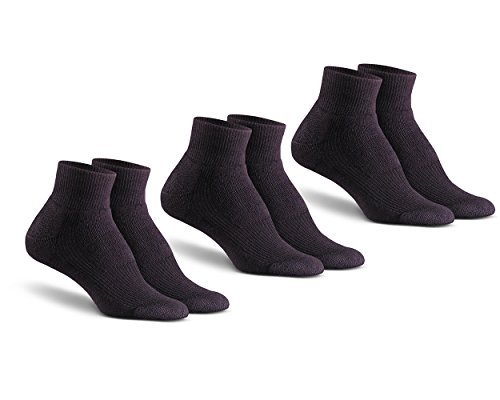 Fox River Mills 3 Pack Wick Dry Walker Lightweight Quarter Sock (Black, Large)