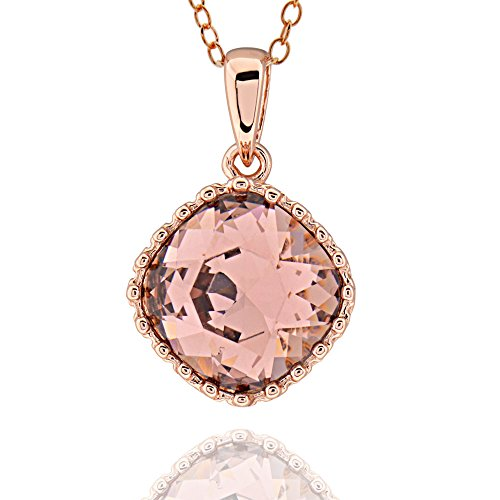 (GemsChest Sterling Silver Rose Gold-Plated Square Cushion Shaped Genuine Swarovski Crystal Necklace 18