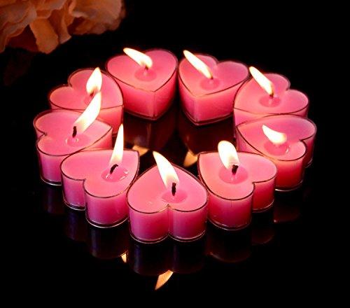 Eshanmu 43.62cm Heart Shaped Candles, 9PCs Set Romantic Love Tea lights Candle Bulk for Wedding, Birthday, Party, Halloween, Christmas, Festival (Pink) (Heart Tealight)