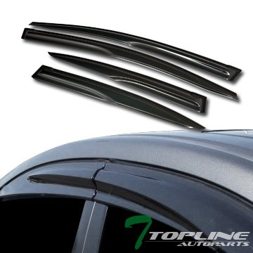 Egr Rear Window Deflectors - Topline Autopart MU Style Smoke Window Visors Deflector Vent Shade Guard 4 Pieces For 12-15 Honda Civic 4 Door Sedan