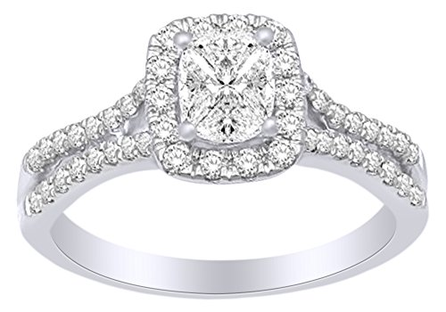 Pinched Shank Square Cluster Engagement Wedding Ring In 14k White Gold With (0.75 cttw) White Natural Diamond With Ring Size 13.5
