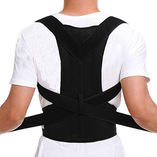 CFR Pro Posture Corrector Back Brace Support Belt for Shoulder Back Waist Pain Relief with Double Strong Splints for Humpback Recorrect Body Shape Black,XL UPS Post ()