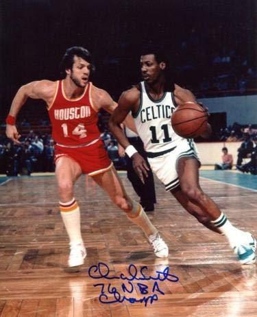 (Charlie Scott Autographed Picture - 8x10 76 Champ white jersey) - Autographed NBA Photos)