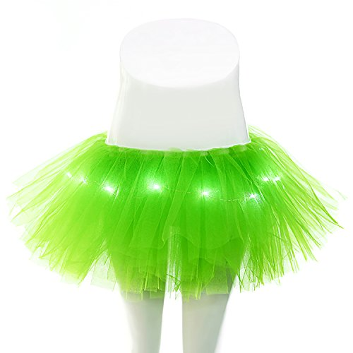 Halloween Women's 5 Layers LED Light Up Tutu Skirt Neon Rainbow Mini Costume Adult Dance Tulle Skirts (Light Up Adult Tutu)