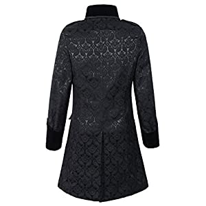 DarcChic Mens Black Gothic Brocade Jacket Frock Coat Steampunk VTG Victorian