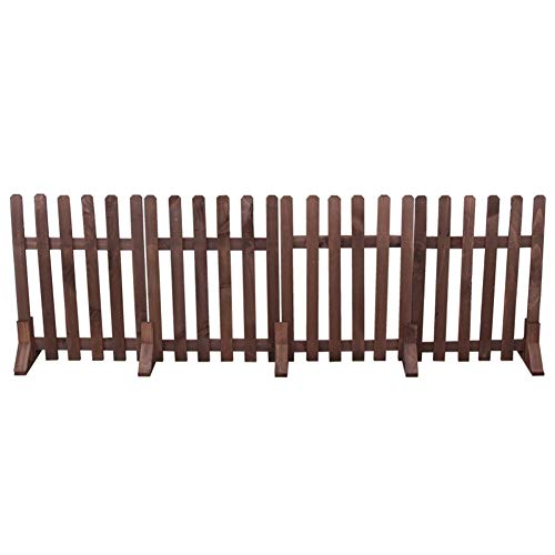 LIXIONG Garden Fence Decor Plant Palisades Wooden Interlocking Panels Animal Barrier for Courtyard Flower Planting,8 Size (Color : Brown, Size : 42x120cm)