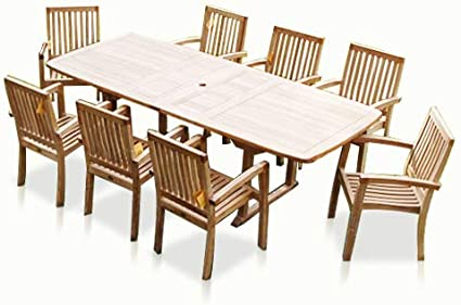 Bayview Patio New 9pc Grade A Teak Outdoor Dining Set One Double Extension Table 8 Patara Stacking Arm Chairs Fine Sanded Indonesian Teak Garden Outdoor