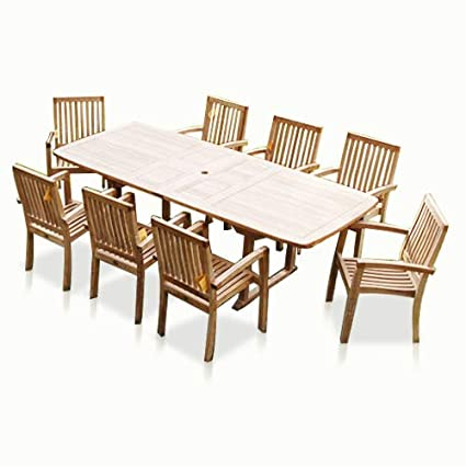New 9pc Grade A Teak Outdoor Dining Set One Double Extension Table 8 Patara Stacking Arm Chairs