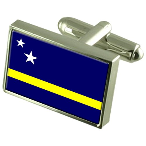 Boutons de manchette Drapeau Argent Sterling Curaçao