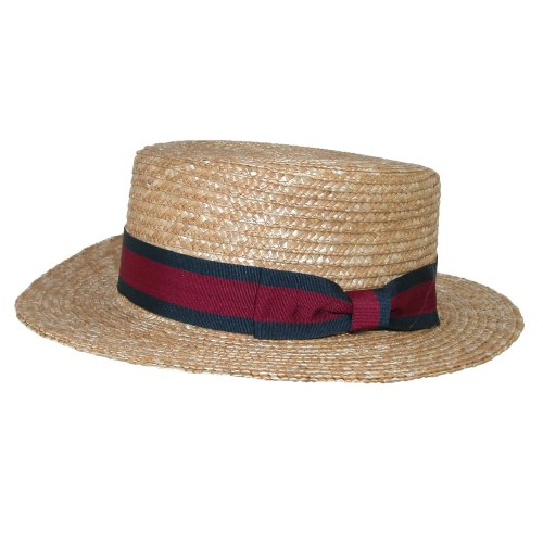 CTM Straw 2.5 Inch Brim Boater Hat with Navy Band, Medium, Natural