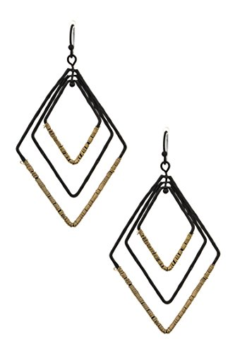 Hammered Diamond Link (Karmas Canvas Multi Hammered Link Diamond Dangle Earring (Matted Black))