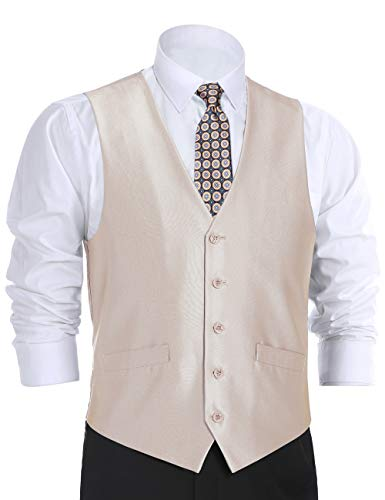 (CHAMA Men's Suit Vest Formal Business Vest Waistcoat 5 Button Regular Fit (42 Regular, Beige Sharkskin))