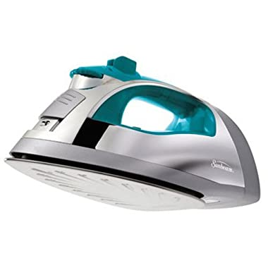 Sunbeam Steam Master 1400 Watt Large-size Anti-Drip Non-Stick Stainless Steel Soleplate Iron with Variable Steam control and 8' Retractable Cord, Chrome/Teal, GCSBSP-201-000