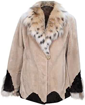 efc689acd5a26 New Women's Sheared Beaver Fur Jacket w/ Lynx Fur Collar Trim Jacket 10  Taupe