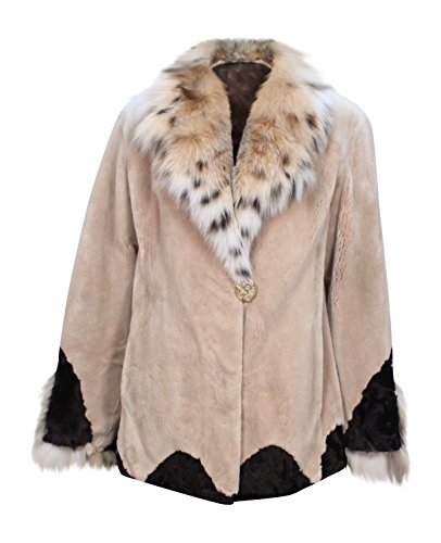 New Women's Sheared Beaver Fur Jacket w/ Lynx Fur Collar Trim Jacket 10 Taupe