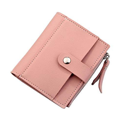 (Women's RFID Mini Soft Leather Bifold Wallet With ID Window Card Sleeve Coin Pocket Wallet)