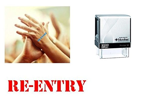 RE-ENTRY Hand Stamp - suitable for Festivals, Parties, Clubs, Special Events, Bars etc. (Red) (Club Stamp)
