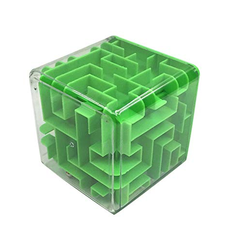 Fiaya Kids 3D Cube Puzzle Money Maze Bank Coin Cash Bill Storage Box Hand Game Develop Brain Educational Fun Toy Gifts (Green)
