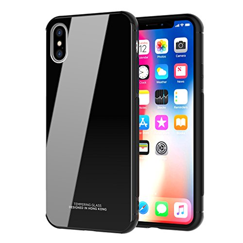 iPhone X Case, iPhone Xs Wallet Case Premium PU Leather Oil Wax Embossed Elephant Detachable Magnetic Cover Credit Card Cash Slots Cover for iPhone X/XS (Black Glass)