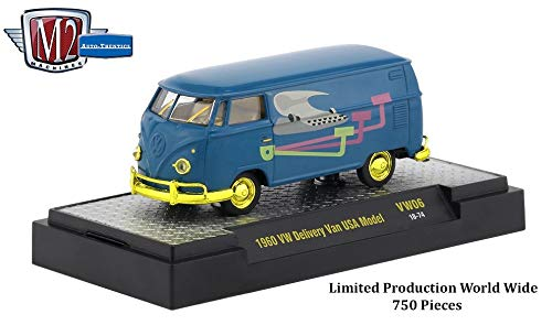M2 Machines Limited Edition Gold Chase 1960 VW Delivery Van U.S.A. Model (Blue w/Plumber Graphics) Auto-Thentics Volkswagen Release 6 Castline 2018 1:64 Scale Die-Cast Vehicle (1 of only 750 Pieces)