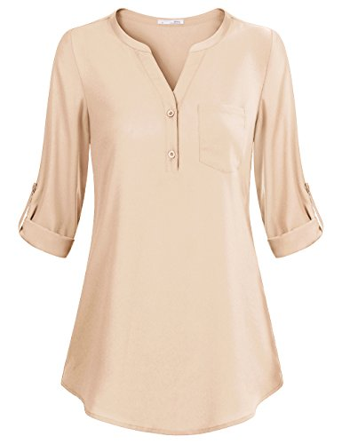 (Messic Women's V-Neck Blouses 3/4 Roll-up Sleeve Button Casual Chiffon Tunic Shirt (Beige, XX-Large))