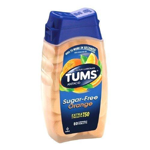 Tums Extra Strength Sugar Free Antacid/Calcium Supplement, Orange 80 e(pack of 2)