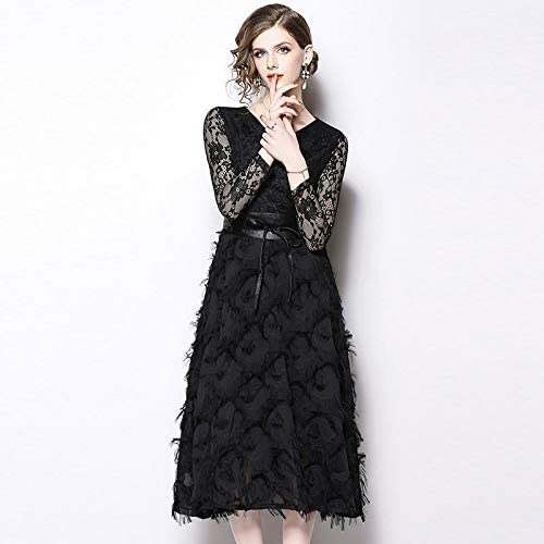 QUNLIANYI Vestidos Largos Mujer Vestido Little Vestido Negro 3XL ...