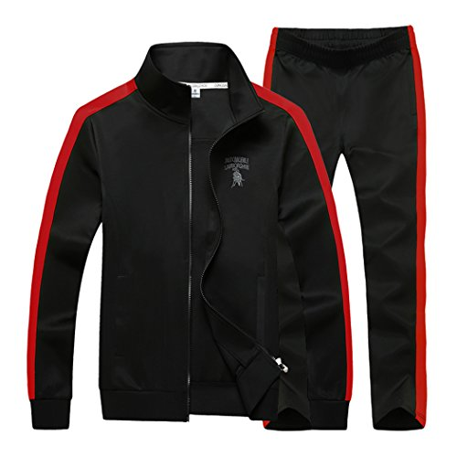 Sun Lorence Men's Athletic Full Zip Fleece Tracksuit Sports Sets Casual Sweat Suit BlackRed S by Sun Lorence