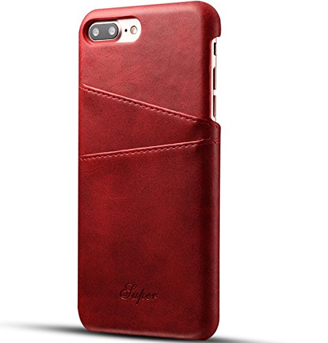 Price comparison product image iphone 8 red case PU leather back over with Credit Card holder protective cell Lunazoe