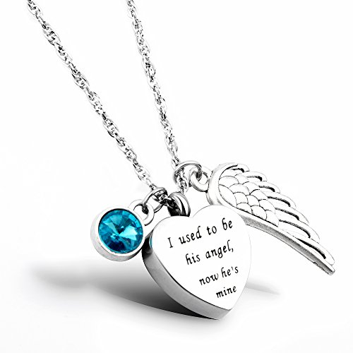 - Urn Necklace I Used to be his Angel, Now He's Mine Cremation Jewelry Memorial Necklace for Ashes (him, Dec)