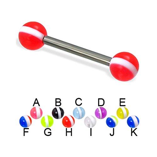 MsPiercing Striped Ball Titanium Straight Barbell, 12 Ga, Ball Size:1/4