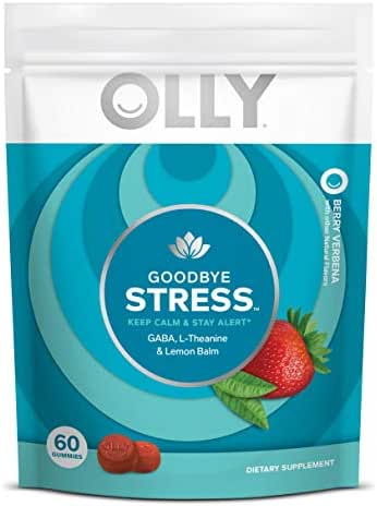 OLLY Goodbye Stress Gummy, 30 Day Supply (60 Gummies), Berry Verbena, GABA, L Theanine, Lemon Balm, Chewable Supplement