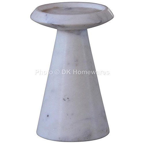 Indian Candle Stand White Fine Polished Jointless Marble Stone Decorative Showpiece By DK Homewares (Indian Pillar Candle)