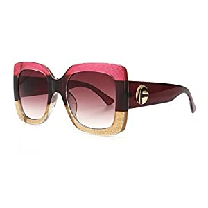 ROYAL GIRL Vintage Oversized Square Sunglasses For Women Designer Trendy Shades (Vine-Pink, 55)