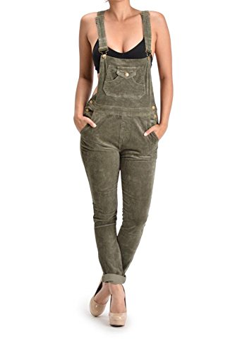 (G-Style USA Women's Corduroy Overalls RJHO446 - Olive - 3X-Large - S1G)