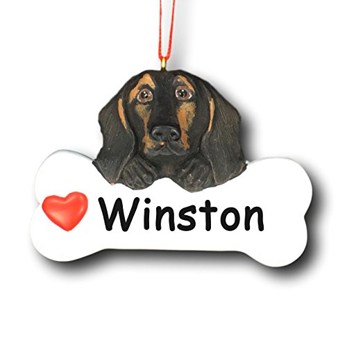 (Personalized Dachshund Christmas Tree Ornament - Black and Tan Pet Wiener Dog Gift Bone with Red Heart Detail - Free Custom Name )