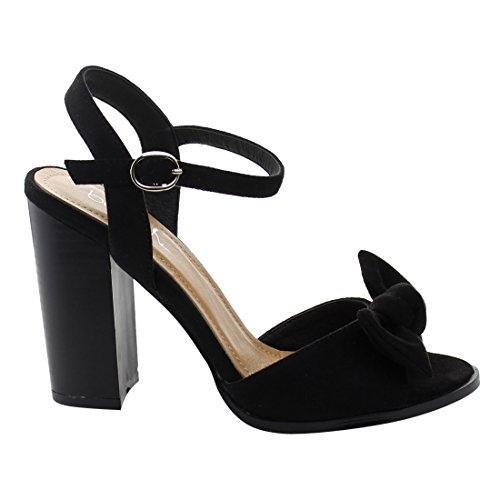 Heel Bow Buckle Black Ankle Womens EL81 Sandals Strap Betani Chunky Stacked I8FZxwfEq