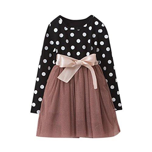 by Girls Dot Pattern Lace Lovely Princess Dress, Long Sleeve Baby Dress (6T, Black) (Lovely Dot)