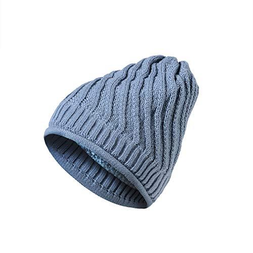 (Autumn Winter Beanies for Ladies Warm Thick Diagonal Stripes Knit Hat Girl Skullies Plus Velvet Lingerie Gray)