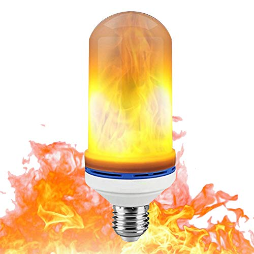 JESWELL LED Flame Effect Light Bulb, 3 Light Modes E27 E26 LED Fire Simulated Flicker Light, Atmosphere Light for Halloween Party Christmas Decoration -