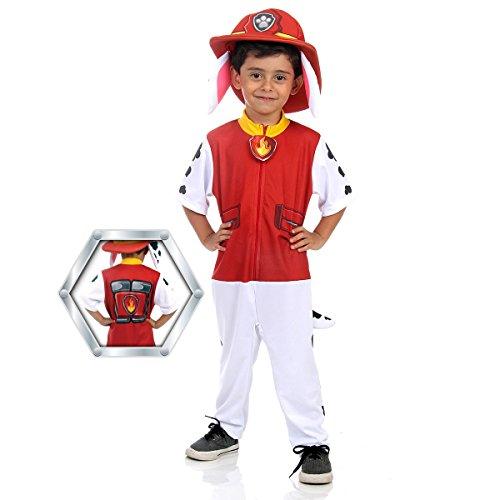 Patrulha Canina Marshall Longo Infantil Sulamericana Fantasias Branco/Vermelho M 6 Anos