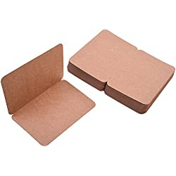 "BCP Pack of 50, 4 x 6"" Kraft Paper Foldable Blank Cards for DIY Greeting Card / Decoration (Brown)"