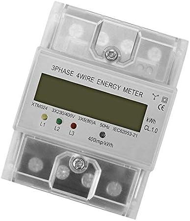 un Compteur D/énergie 3X230V 80 400V Triphas/é 4 Fils sur Rail /électrique Puissance /électrique Pr/écise TOOGOO Num/érique Lcd 50Hz 5